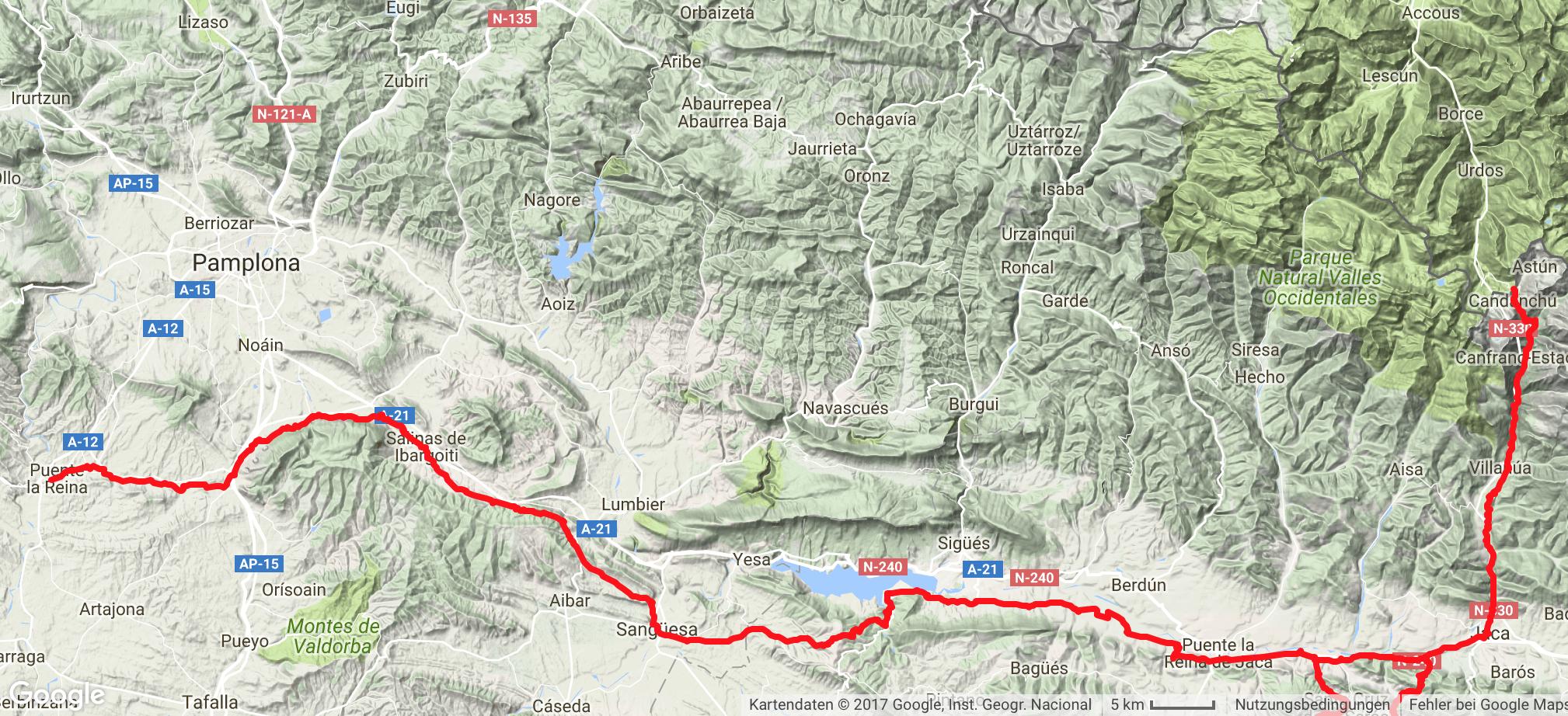 Camino Aragones Karte