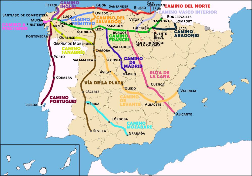 Camino Portugues Karte.Welche Jakobsweg Route Wähle Ich Jakobsweg Lebensweg