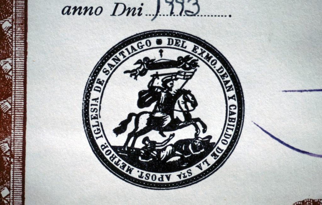 Pilgerausweis Stempel Santiago