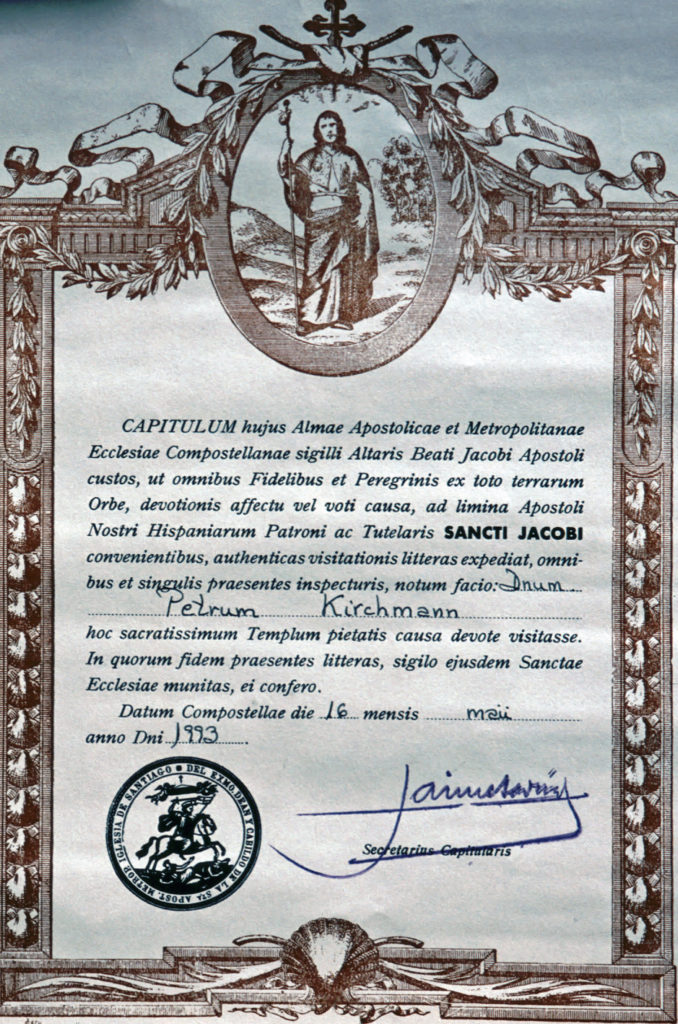 Pilgerausweis Urkunde