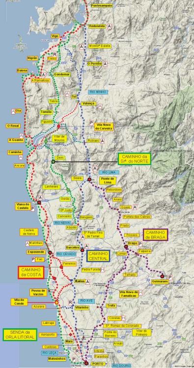 Camino Portugues Karte.Der Camino Portugues Jakobsweg Lebensweg