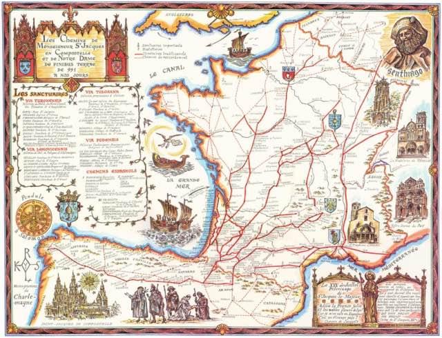 Jakobsweg-Route-Karte-Spanien-Frankreich