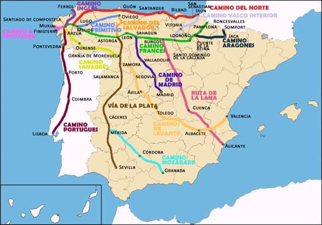 Jakobsweg-spanien-länge-Karte
