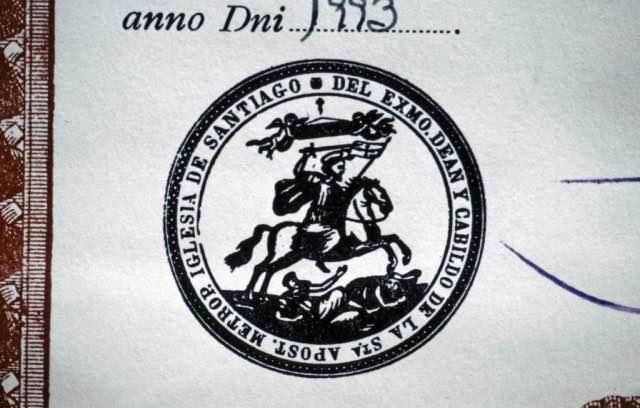 Pilgerausweis-Stempel-Santiago