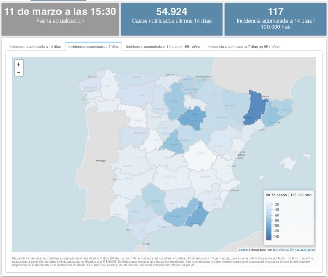 Covid Spanien Karte