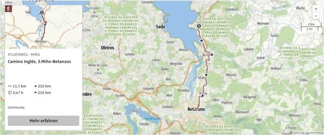 Camino Ingles Karte Etappe 3