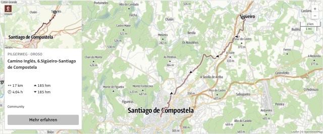 Camino Ingles Karte Etappe 6
