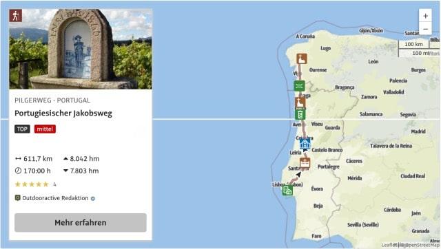 Camino Portugues Karte ab Lissabon